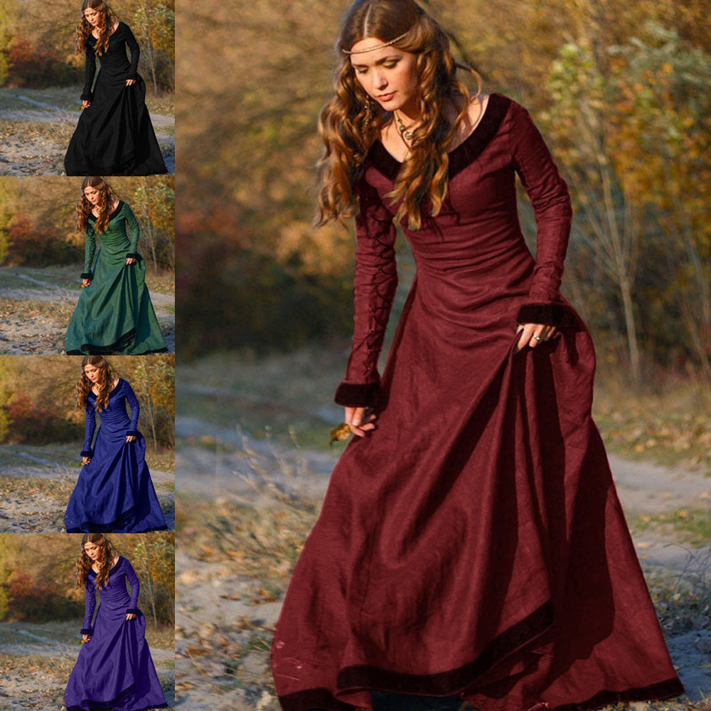 Vintage Ladies Medieval Victorian Long Sleeve Ball Gown Renaissance ...
