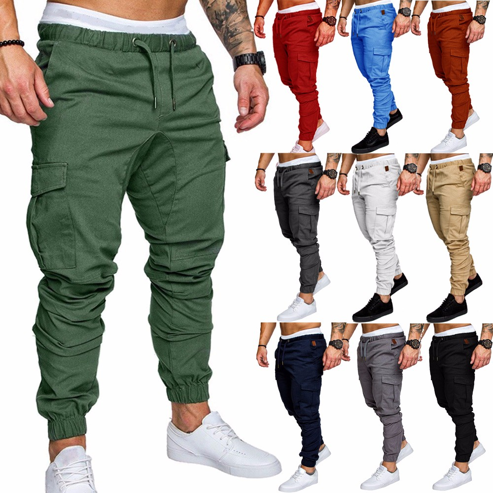 a0268b41d17e Men S Skinny Urban Straight Leg Trousers Casual Pencil Jogger Cargo ...