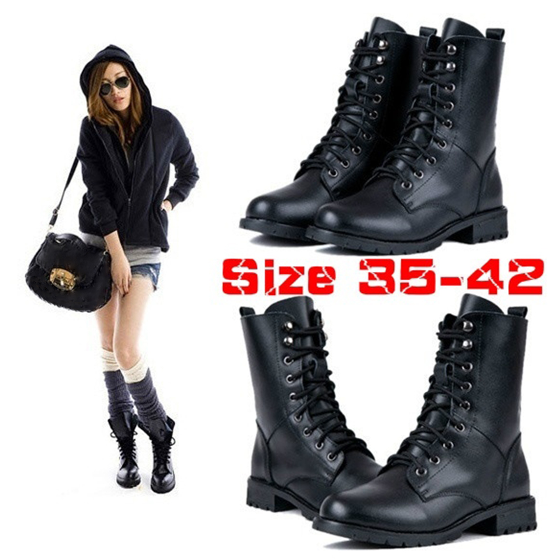 adac819a1dd Elegant Flat Lace Up Womens Martin Boots Black Ankle Boots Womens ...