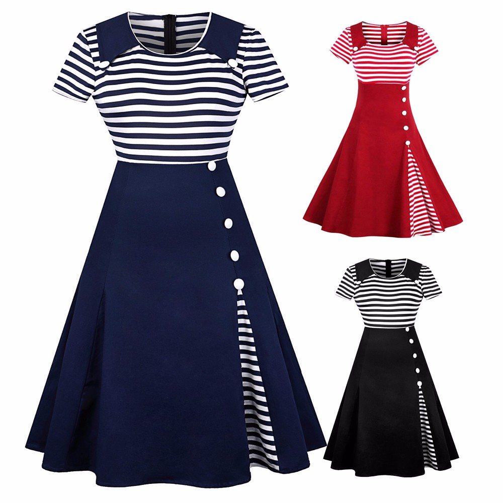 Details about Woman Vintage 50s Rockabilly Stripe Buttoned Pin Up Flare  Swing Dress Plus Size