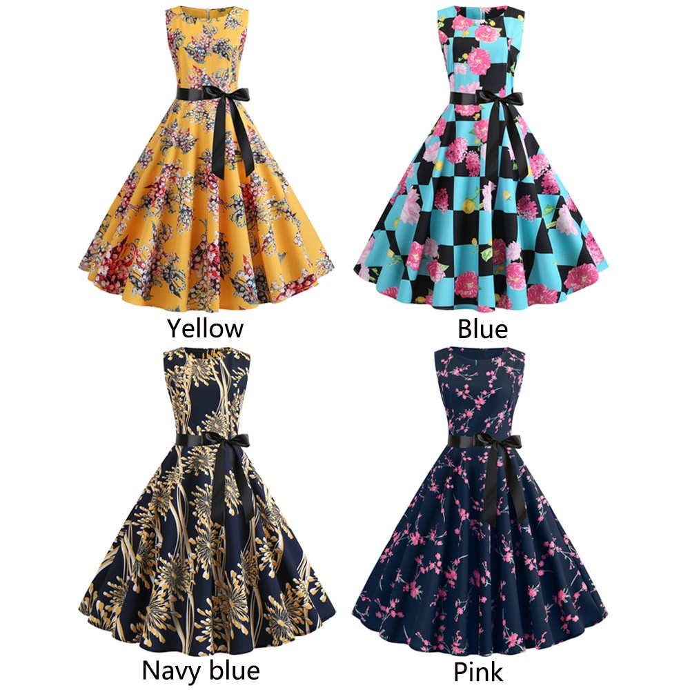 16a9a69d519 Women 50s Vintage Swing Dress Evening Cocktail Party Housewife Pinup ...