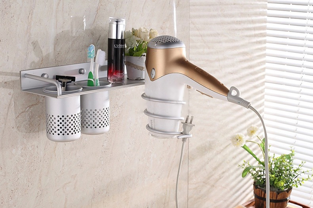 Details About Wall Mounted Hair Dryer Rack E Bathroom Straightener Holder Shelf Stand