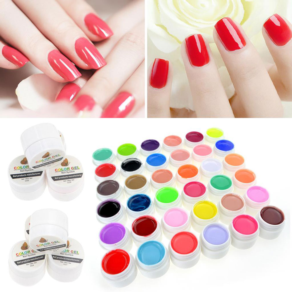 36 Pure Colors Pots Bling Cover UV Gel Nail Art for UV Lamp Manicure ...