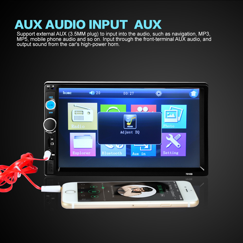 7 2 Din Bluetooth Mp5 Media Player Touch Screen Car Stereo Fm