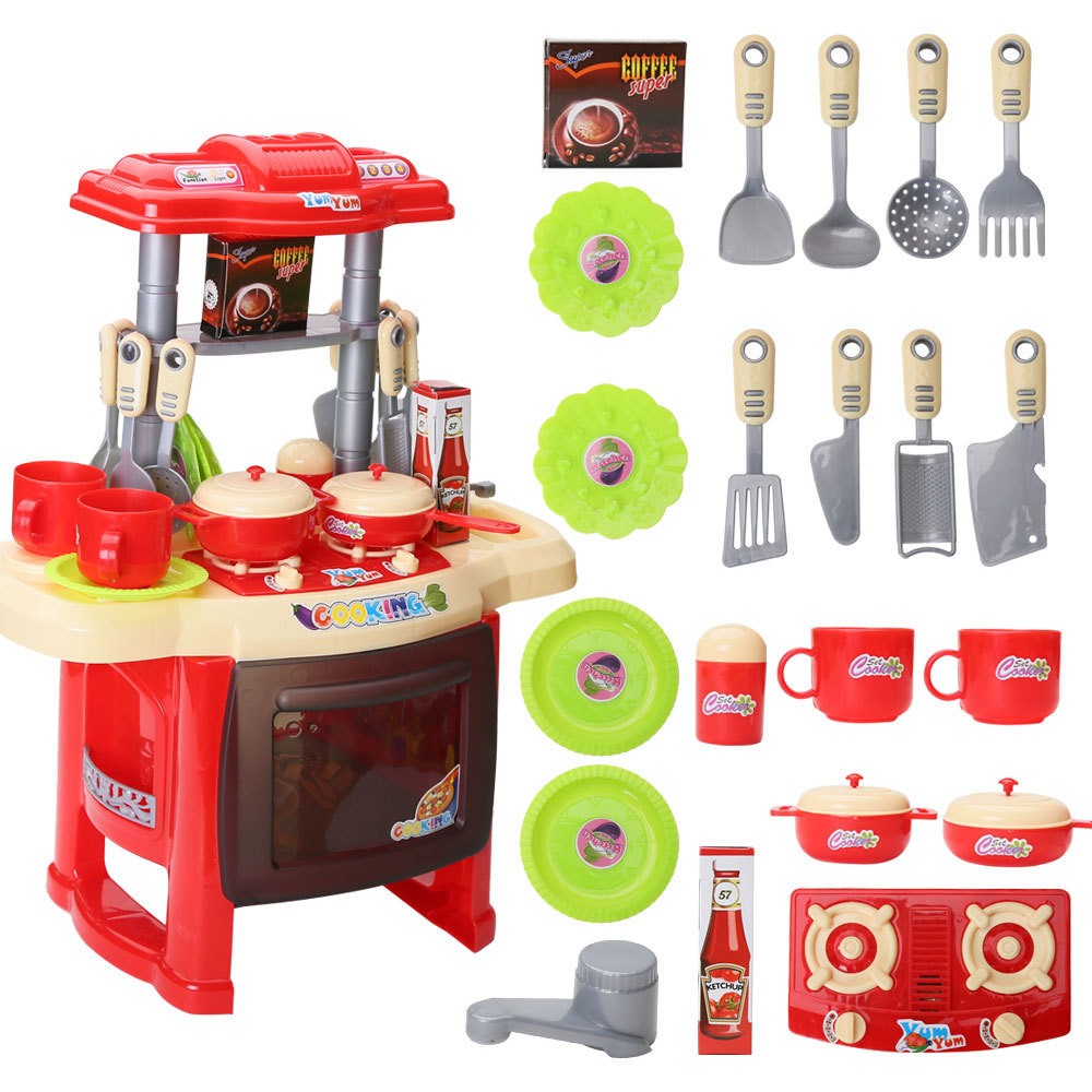 Details About New Kids Kitchen Cooking Pretend Role Play Toy Set Light Sound Effect Xmas Gift