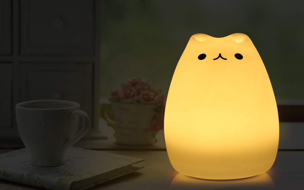 Squishy Cat Night Light : 7 Color Changing Rechargeable Silicone Cat Night Light Baby Nursery Soft Lamp eBay