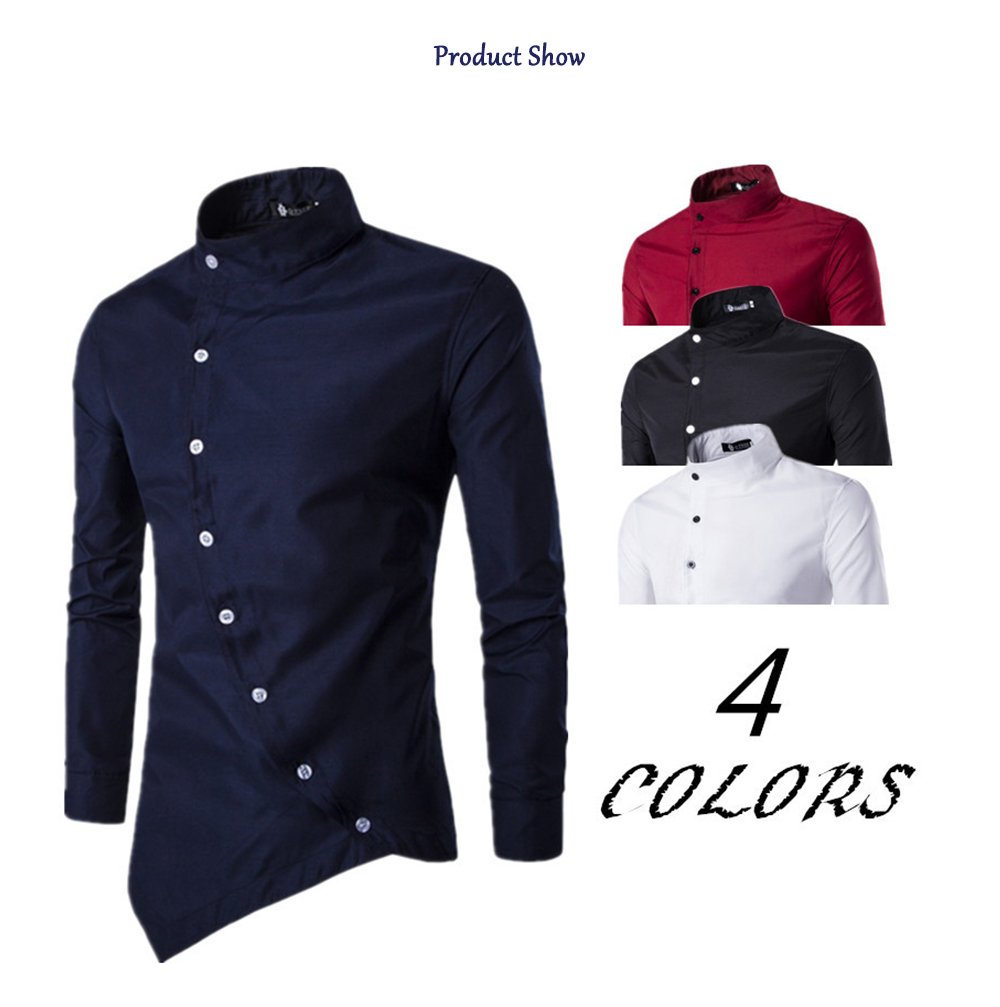 Vintage Irregular Stand Collar Casual Shirts Men Long Sleeve Buttons