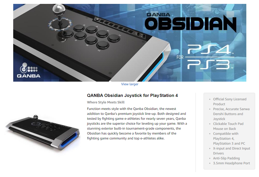 Details about Qanba Obsidian Joystick for PlayStation 4 and PlayStation 3  PC Fighting Stick