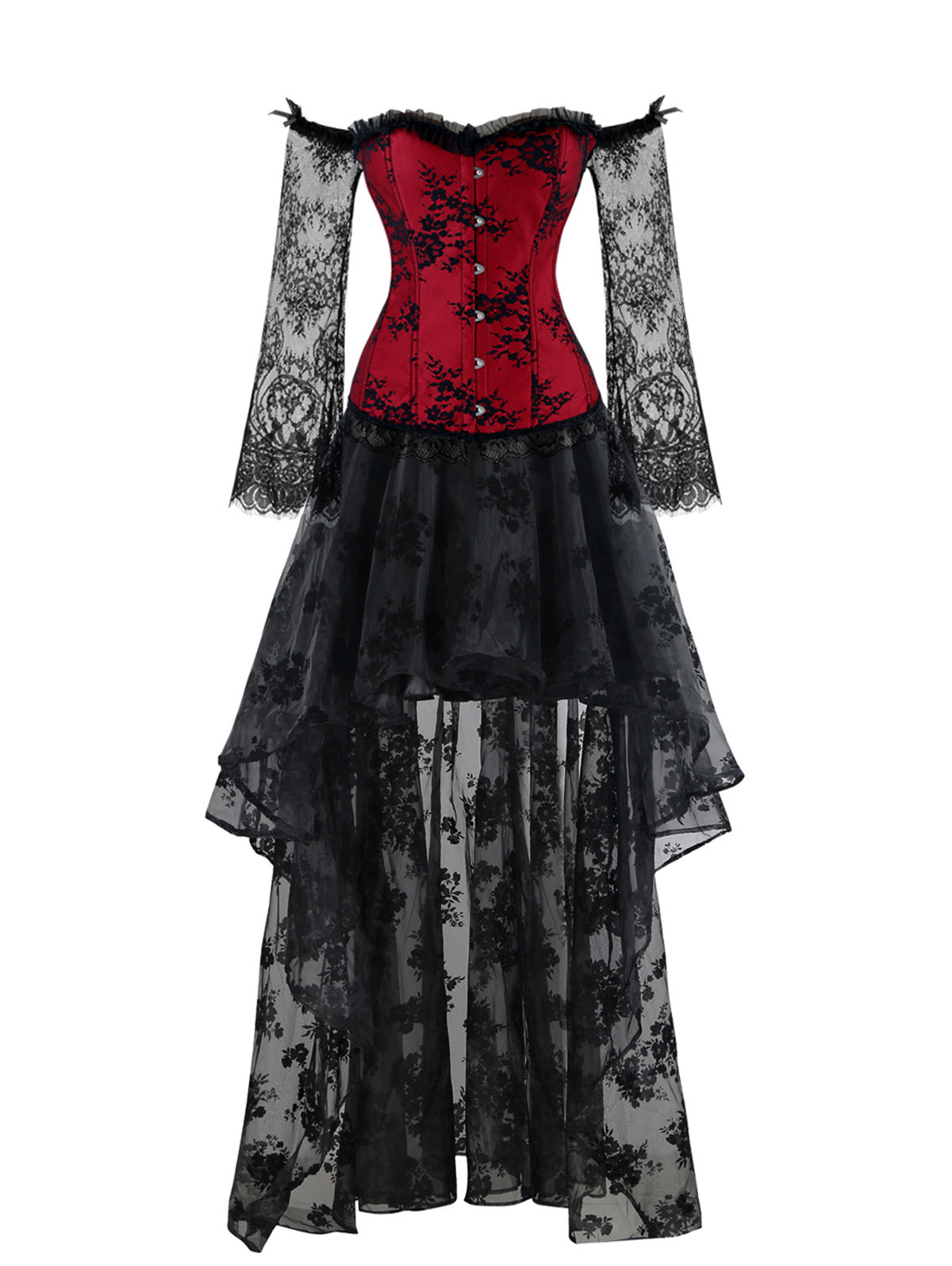 Retro Vintage Gothic Victorian High-Low Lace Party Cocktail Formal ...