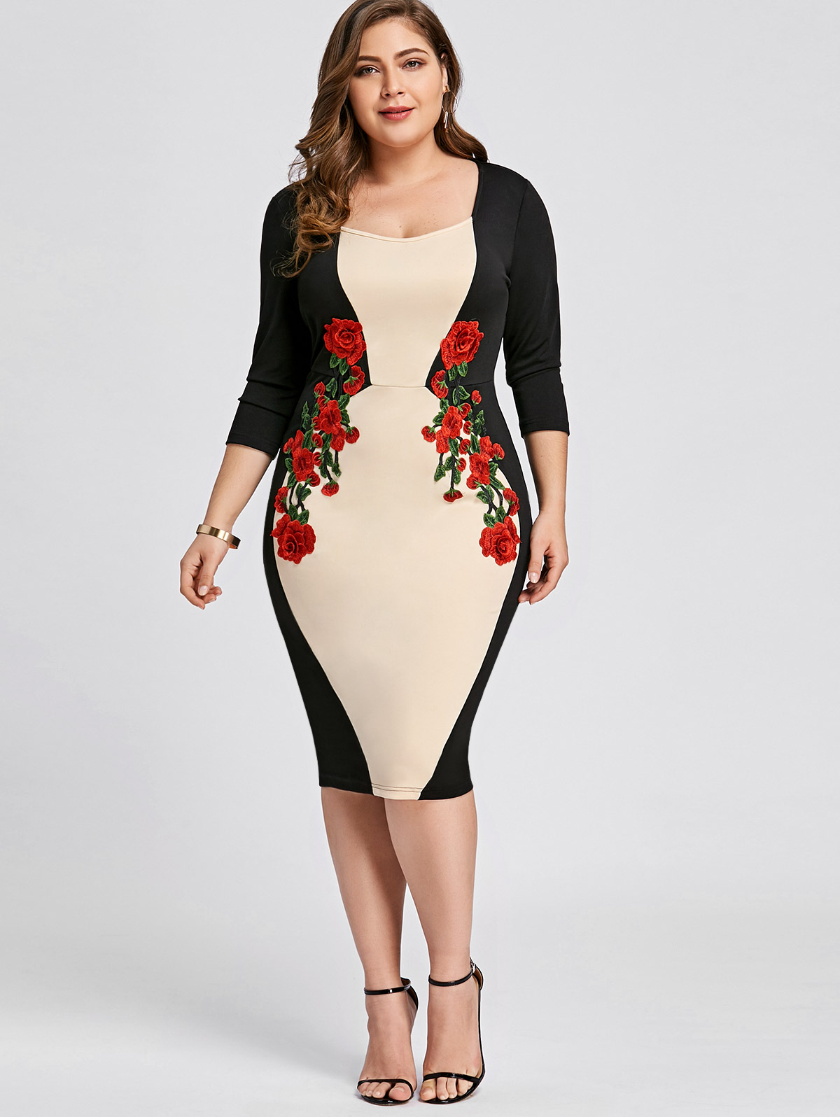 d442e3150f8 Details about Plus Size Women 3/4 Sleeve Bodycon Dress Ladies Baggy Midi  Dress Office OL Work