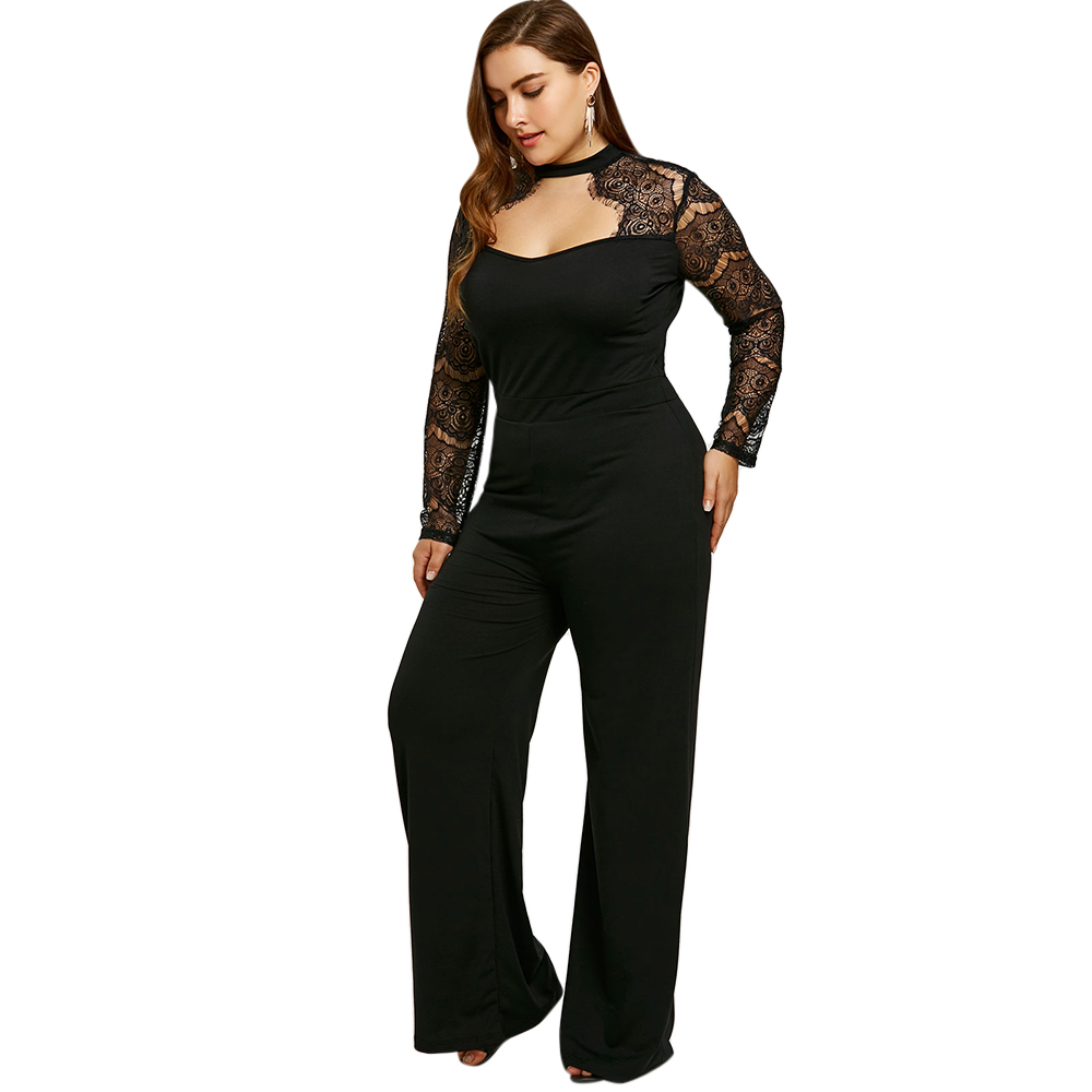 ff2b6770a84 Plus Size Women Rompers Jumpsuits Pants Tops Lace Sleeve .