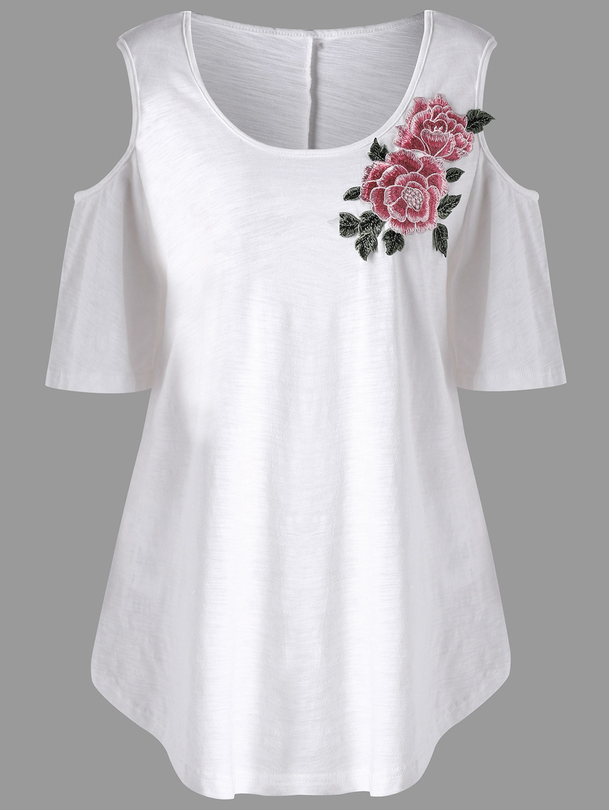 113a786cf Shirt Length: Long Sleeve Length: Short Collar: Scoop Neck Style: Casual  Season: Summer Embellishment: Appliques,Embroidery Pattern Type: Floral