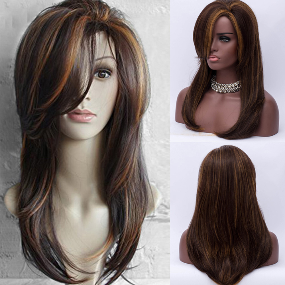 fea0d74fc2 Details about Women Long Side Bang Layered Natural Straight Colormix  Synthetic Hair Full Wig