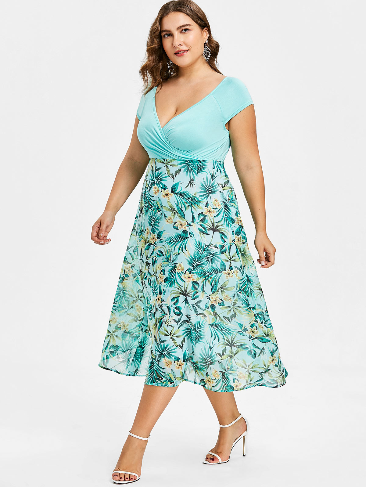 24fc129e27ad Details about Plus Size Flower Print Hawaiian Dress Midi A Line Surplice  Short Sleeve Dress