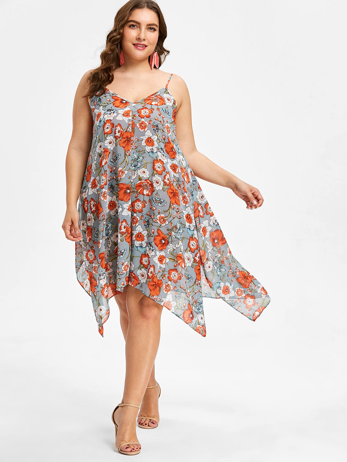 Summer Plus Size Women Handkerchief Dress Floral Spaghetti Strap ...
