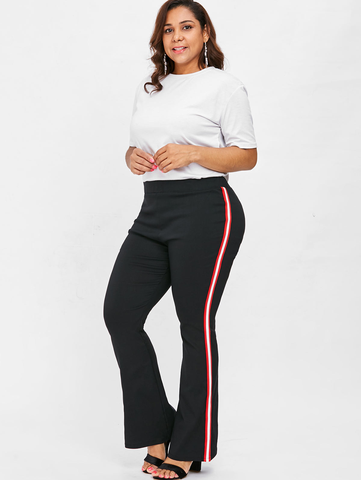 d2ee9a9873 Details about L-5XL Plus Size Lady Side Striped Flare Pants Color Block  Casual Office Trousers