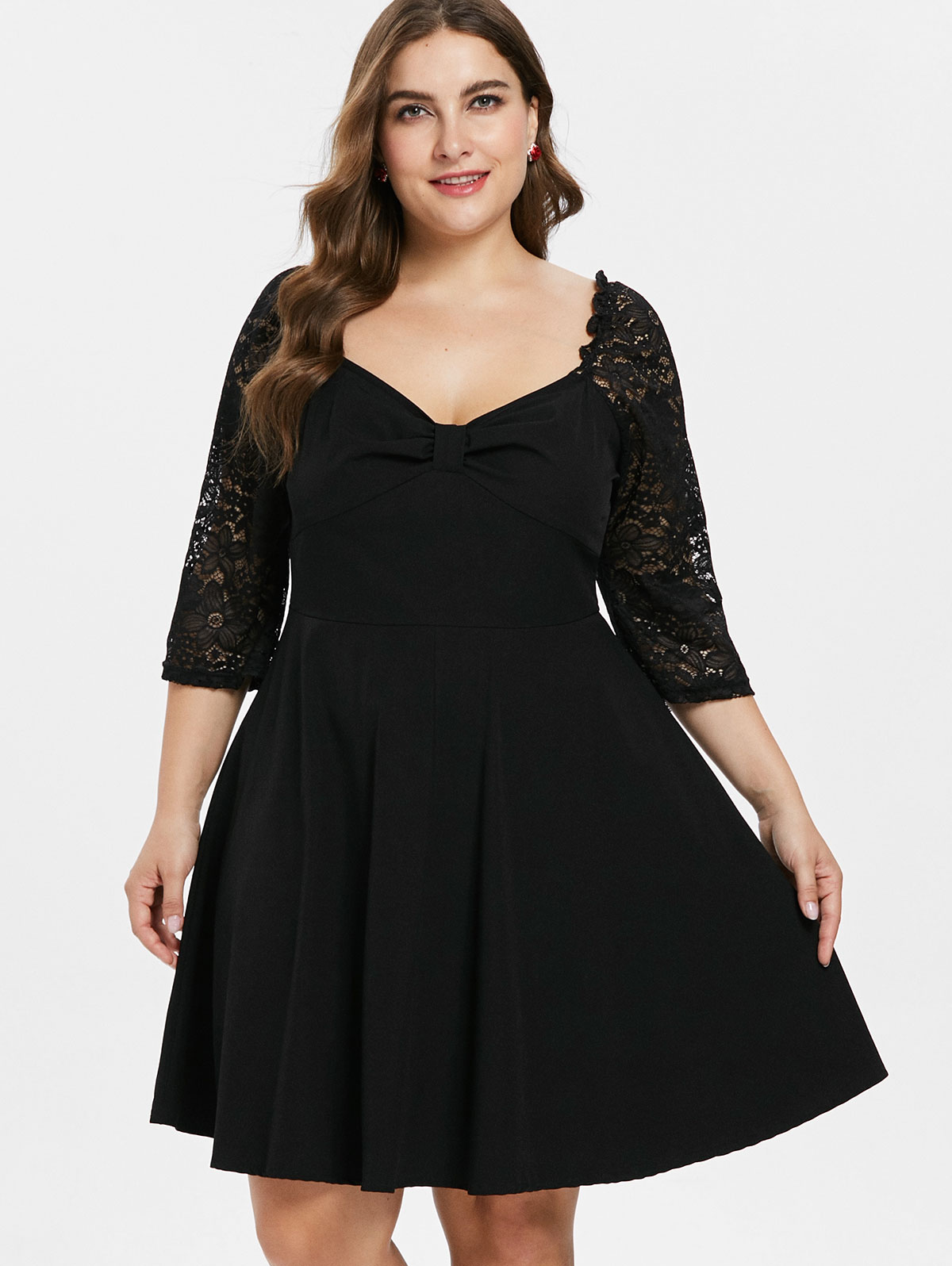 ac0d4f055ef Details about Plus Size Knee Length Lace Panel Dress Cut Out 3/4 Sleeve  Party Skater Dress New
