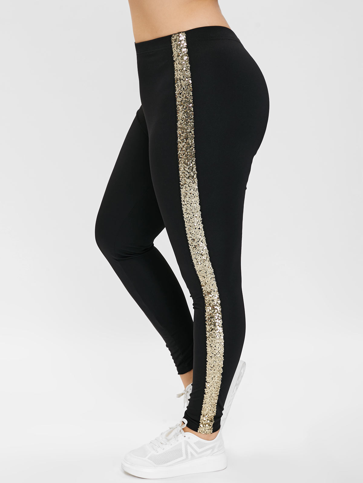 e5f4f8379fdba Details about Plus Size Women High Waisted Sequined Leggings Skinny Gym  Sports Leggings Pants