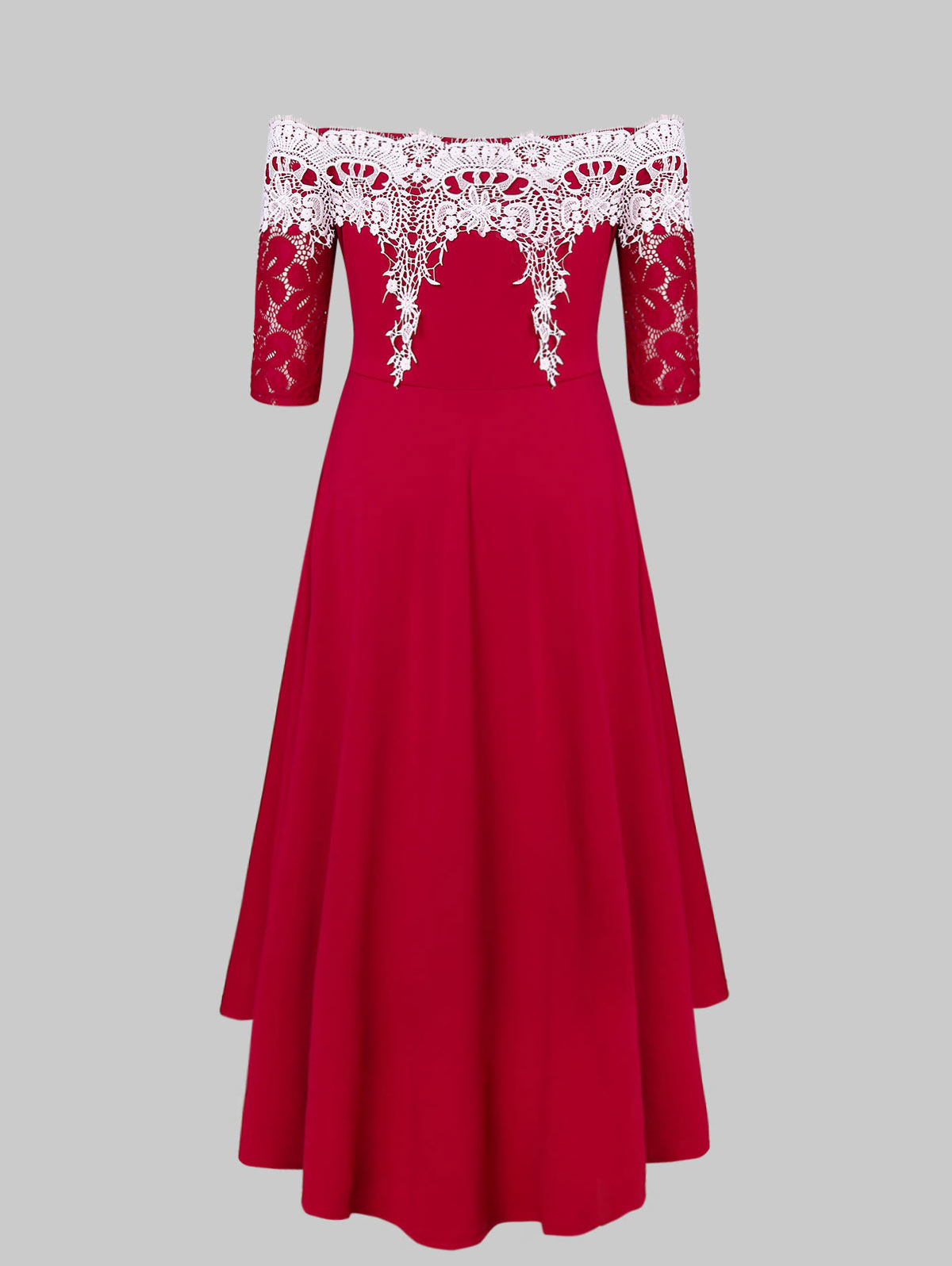 f3ddc7b9285 Details about Half Sleeve Off The Shoulder Plus Size High Low Lace Panel  Women Party Dress
