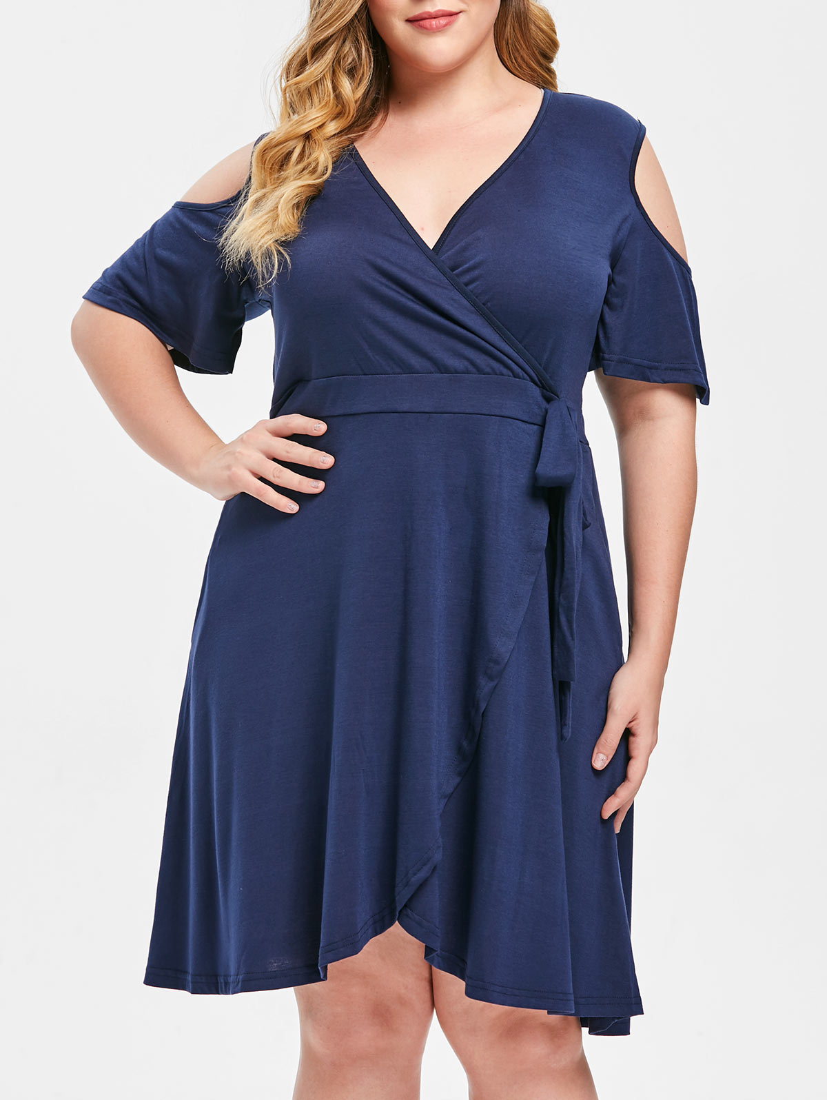 cd29452bcc Details about Women Open Shoulder Half Sleeve Plus Size Fit And Flare Dress  A Line Party Dress