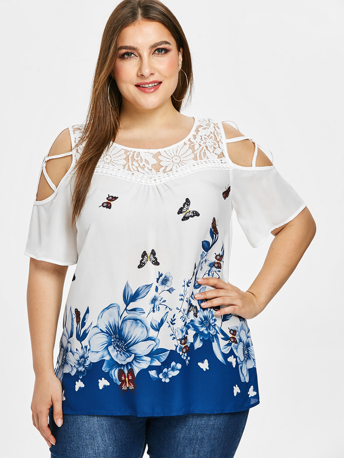 fb1bbaf18d86bb Details about Plus Size Butterfly Floral Printed Lace Insert Women Blouse  Cold Shoulder Tops