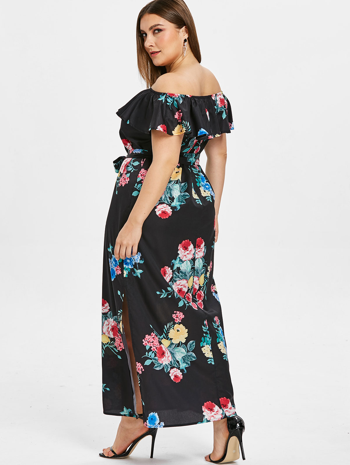 Women Plus Size Off Shoulder Flower Slit Maxi Dress Party Beach ...