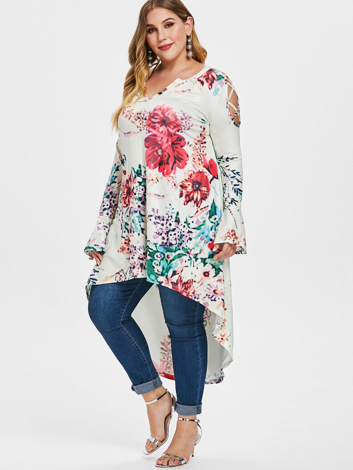 1e7745e2bbe Details about Womens Floral Print High Low V Neck T-shirt Top Blouse Long  Sleeve Plus Size Tee