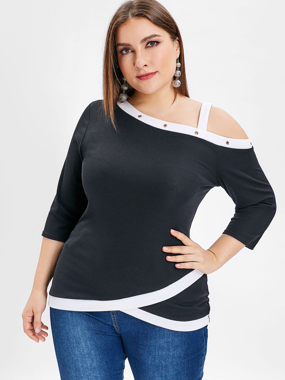 9c1724769b9 Details about L-5XL Plus Size Two Tone Women Cold Shoulder Top Blouse  Casual 3 4 Sleeve Tee