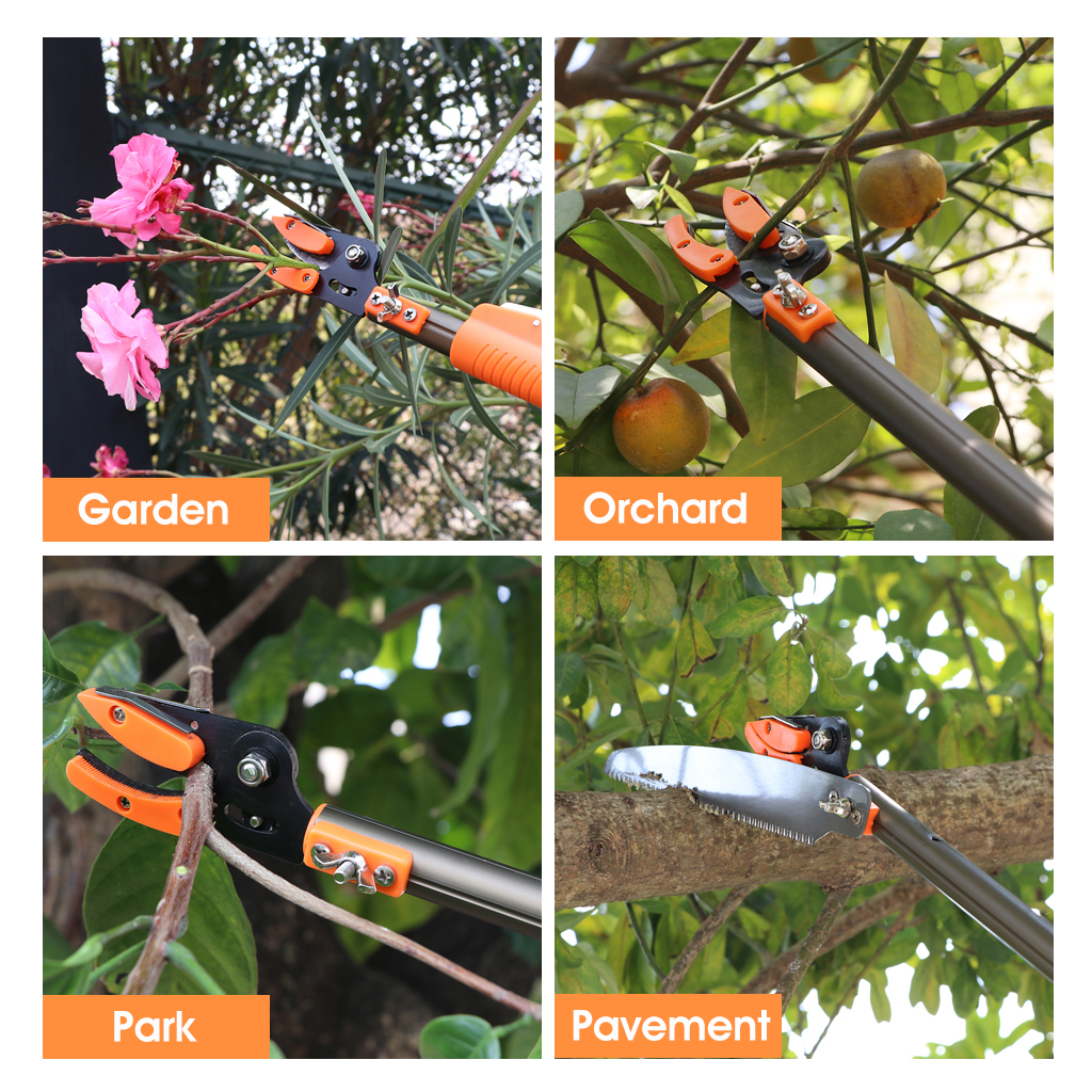 4 metre tree branch cutting saw pruner aluminium telescopic pole finether telescopic long reach aluminum cut hold pole pruner and saw branch trimmer with bypass pruner saw blade guide rod shoulder strap greentooth Gallery