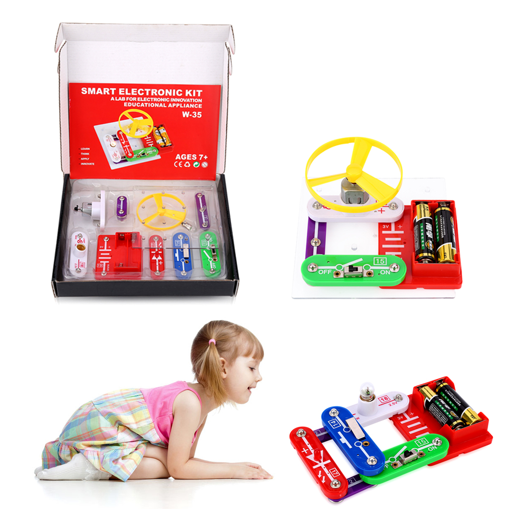 Kids Science Educational Toy Electronics Discovery Smart Diy Circuits Electronic For Free Circuit Each Component Has A Code Printed Snap Together Parts Design Well Connected And No Extra Tools Needed Over 30 Projects With Components Push Button