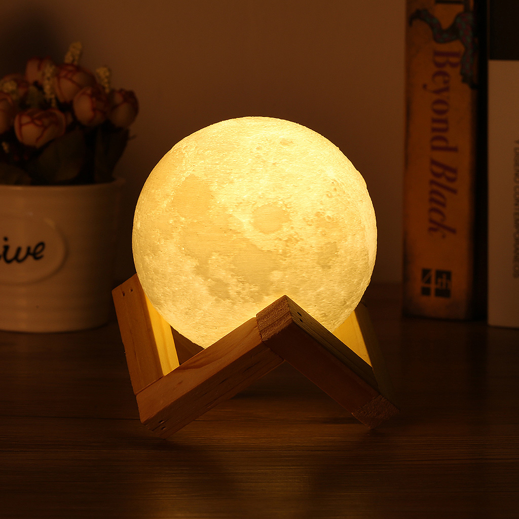 Usb Rechargeable 3d Printing Moon Lunar Led Night Light