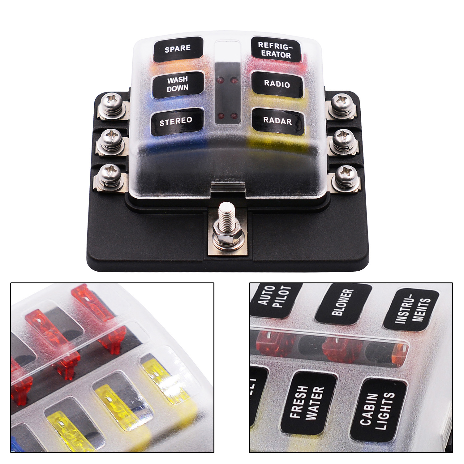 6 Way Fuse Box Blade Holder 5 10 15 20a Led Waterproof Cover Marine Covers Vetomile 5a 10a 15a Free Fuses Indicator Waterpoof For Automotive Car Boat Features