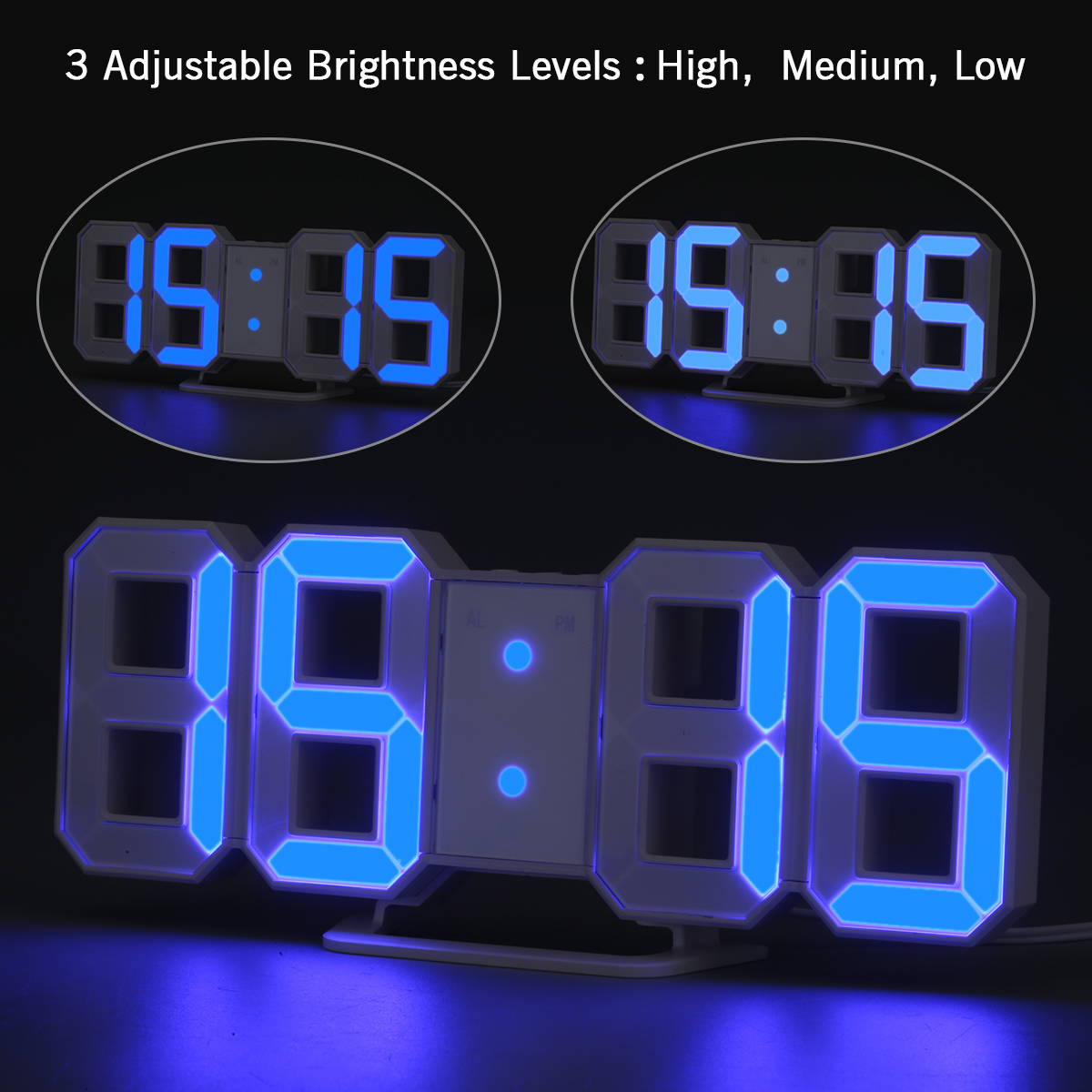 Blue Led Digit Large Display Alarm Clock With Brightness Dimmer Snooze Timer Usb Charge Dc And Battery Backup Digits Table Wall