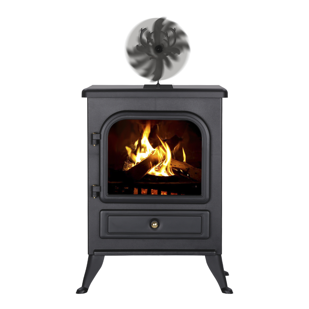 4 blade heat powered wood log burner fireplace stove fan. Black Bedroom Furniture Sets. Home Design Ideas