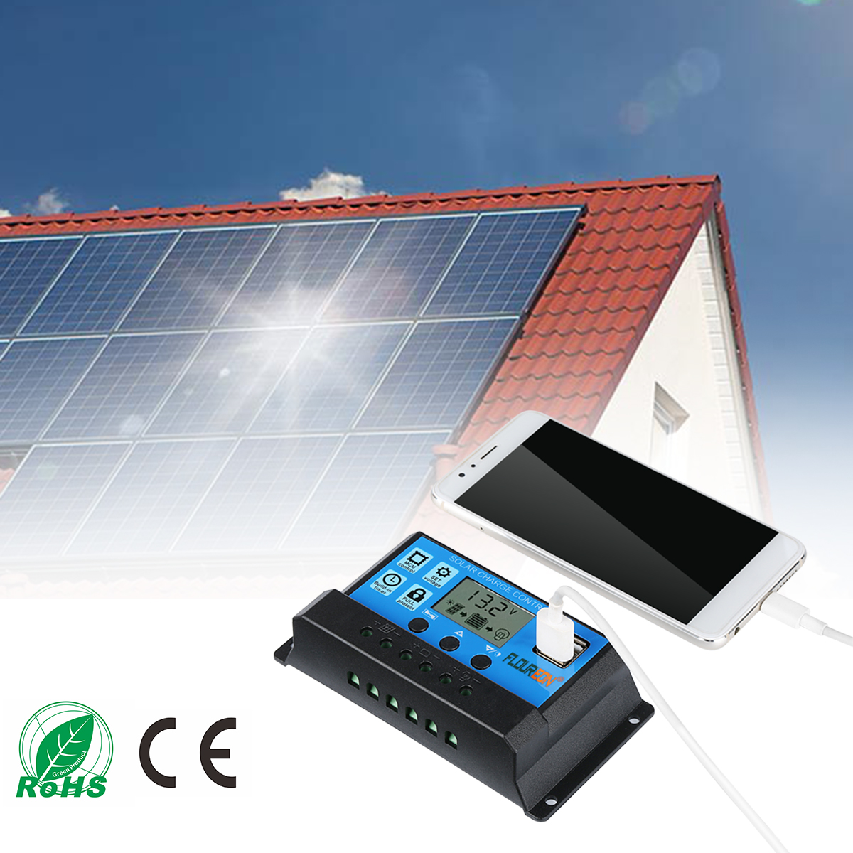 12 24v 30a Solar Charger Controller Pwm Dual Usb Battery Charge Controllers Floureon Panel Intelligent Regulator