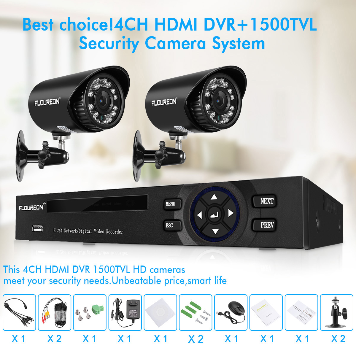 Details about FLOUREON Security Bullet Camera System 4CH 5-IN-1 DVR 1080N  HD Night Vision CMOS