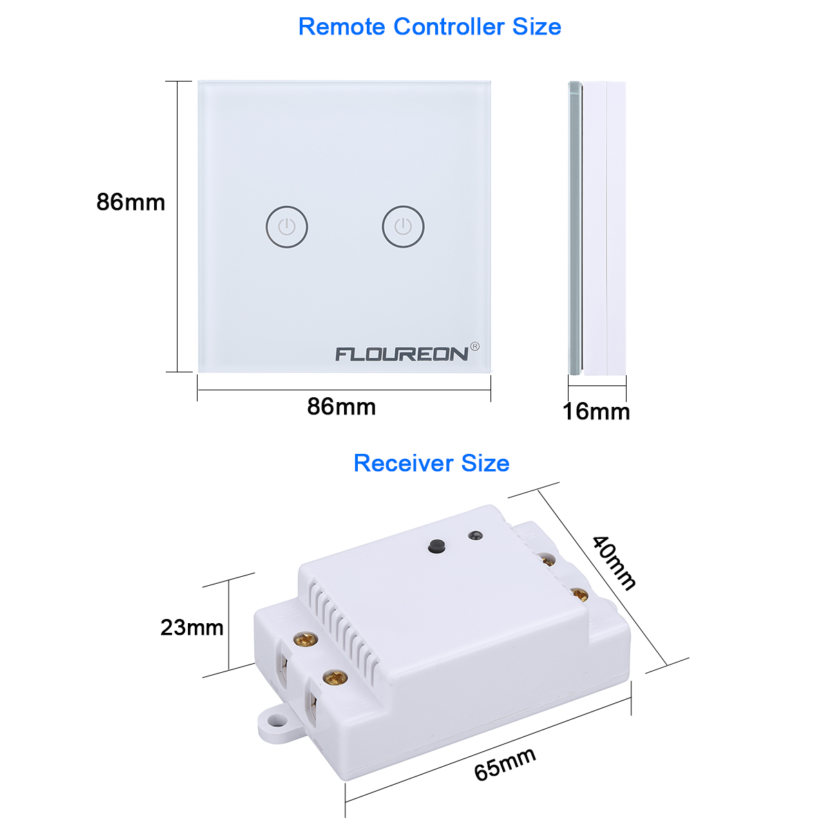 Us Plug 2 Gang 1 Way Touch Switch Wall Led Light Glass Panel Rf Single Wiring Floureon Wireless Remote Control 43392mhz Controller Portable White Tempered
