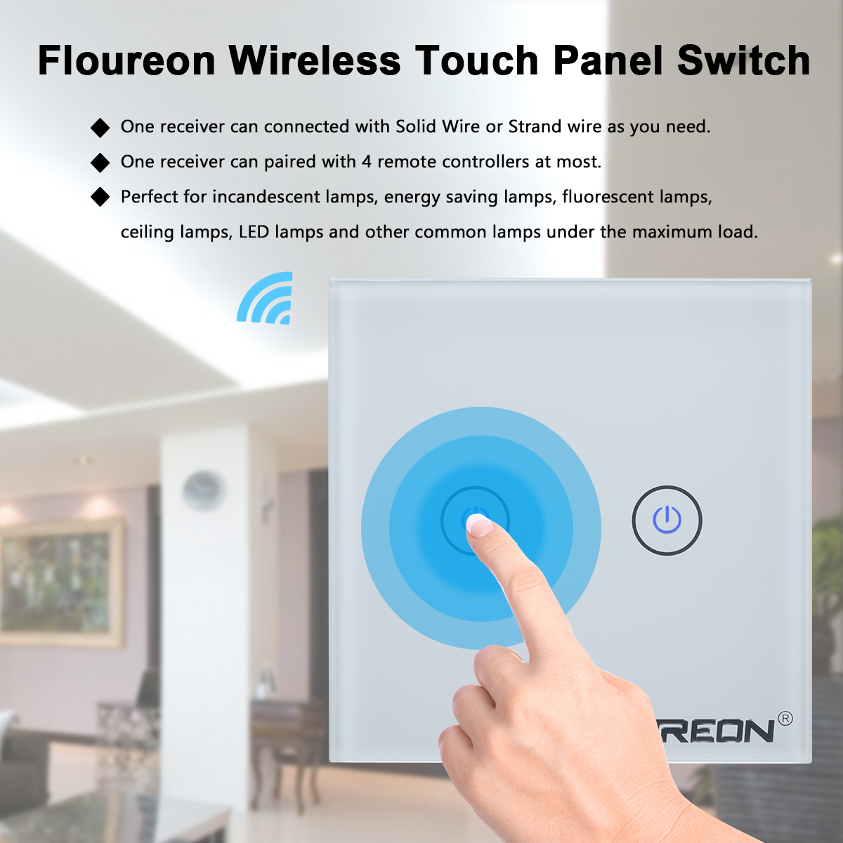 Floureon 2 Gang 1 Way Wireless Rf Light Wall Switch Remote Wiring A Our Is Only Suitable For Indoor Use Not Outdoors