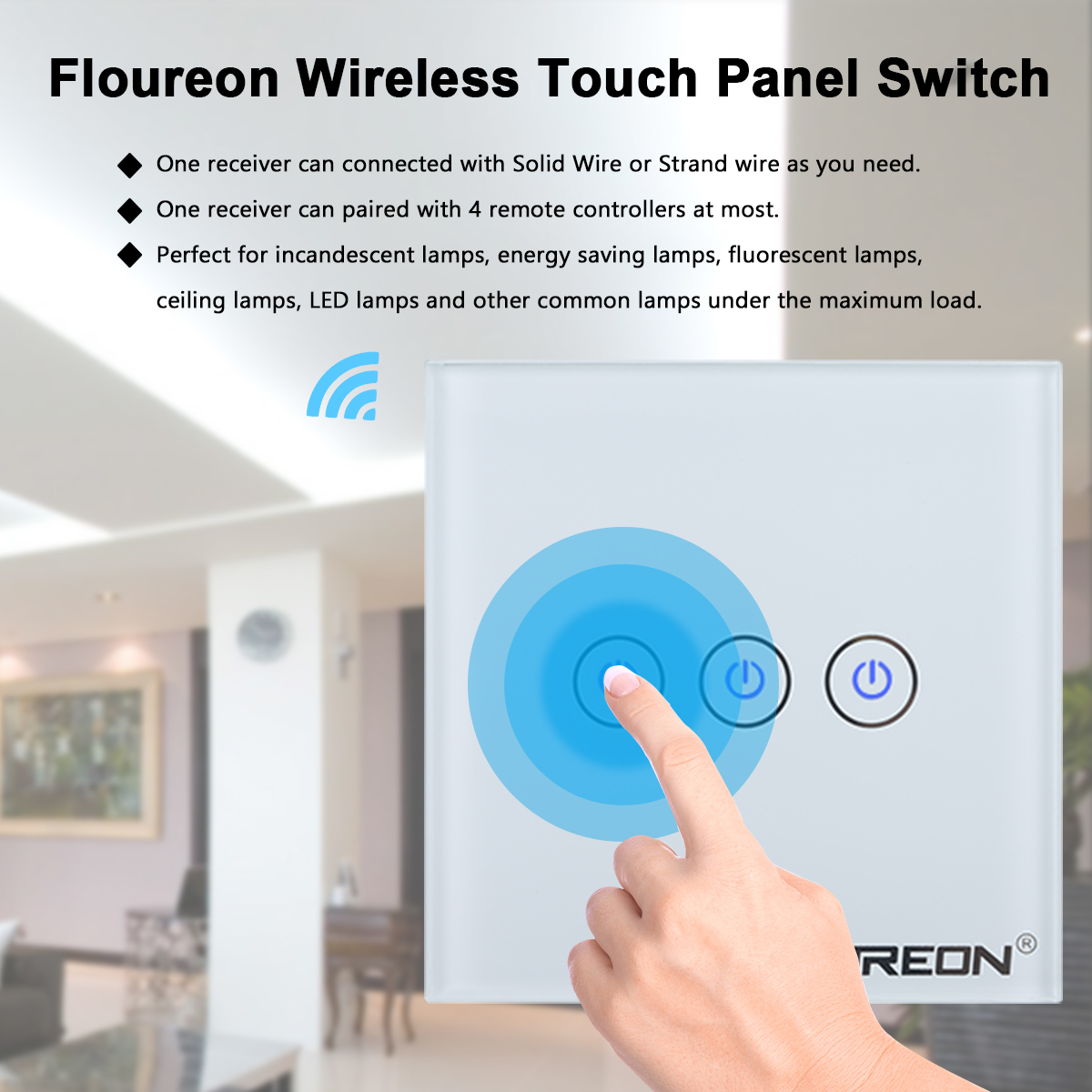 Smart Rf Wireless Remote Control Home Wall Light Lamp Switch Way 3 Ceiling With No Wiring Needed Floureon Gang 1 Blue Led Is A Perfect Improving Your Contemporary And Stylish House