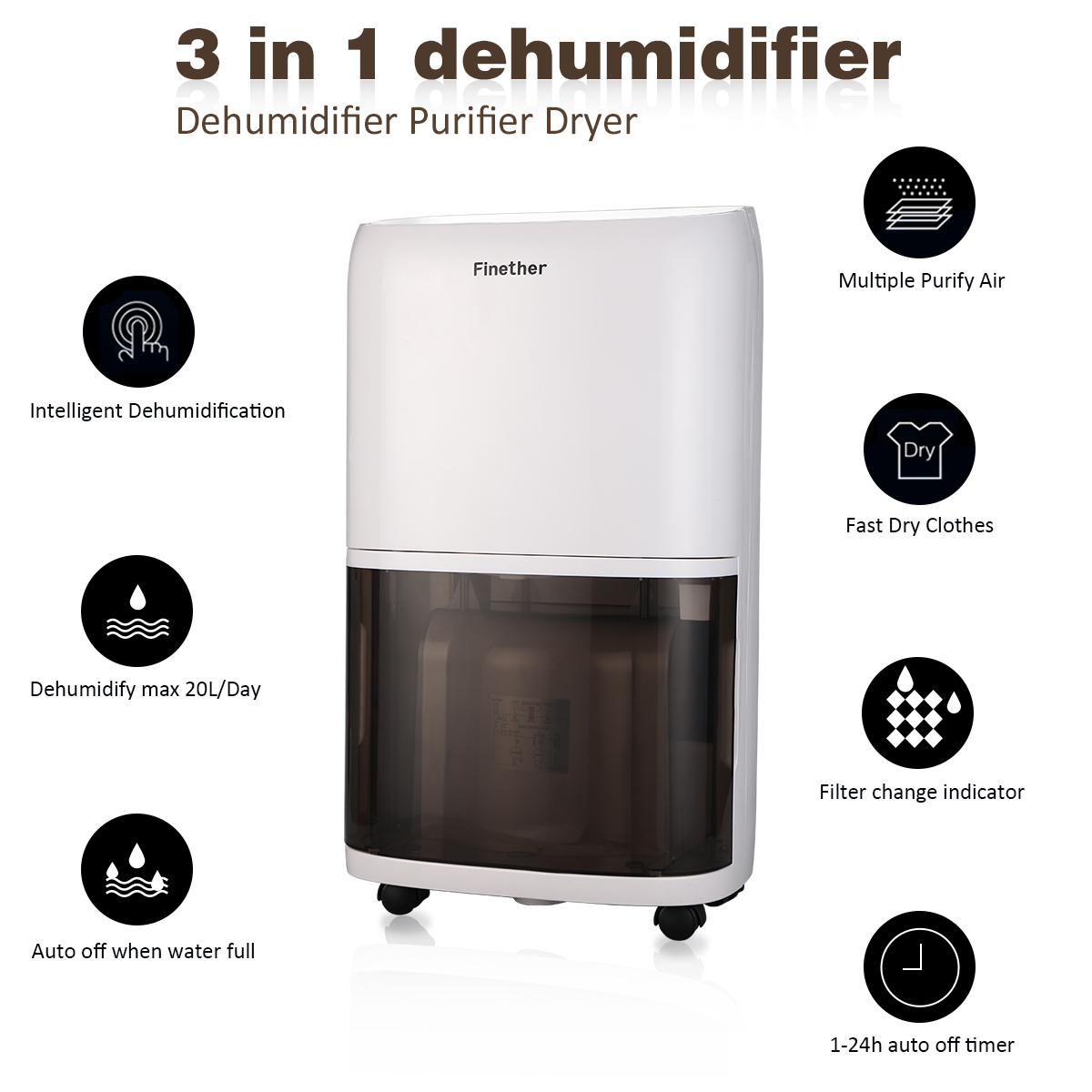 20l d digital air dehumidifier dryer timer anion damp for Bedroom 80 humidity