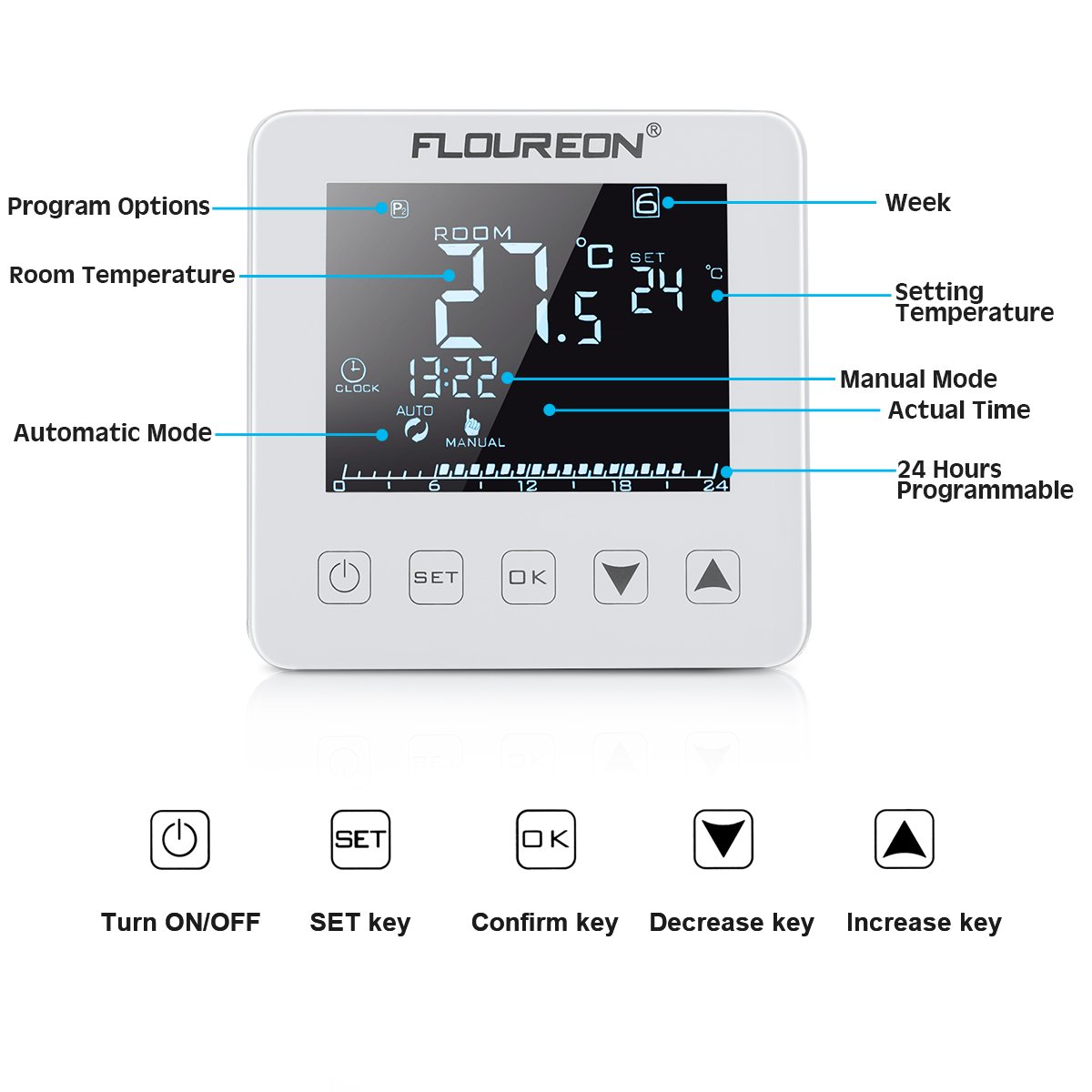 3x digital lcd thermostat raumthermostat fu bodenheizung. Black Bedroom Furniture Sets. Home Design Ideas