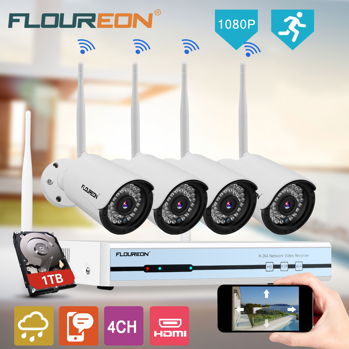 Floureon 4CH CCTV 1080P Kit Wifi Camera 1TB HDD Security Video Recorder NVR Set