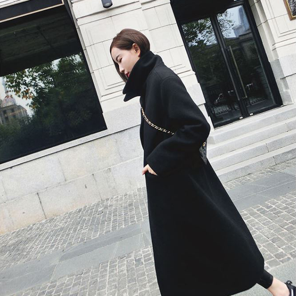 damen winter warm woolen coat lapel lang trench coat jacke. Black Bedroom Furniture Sets. Home Design Ideas
