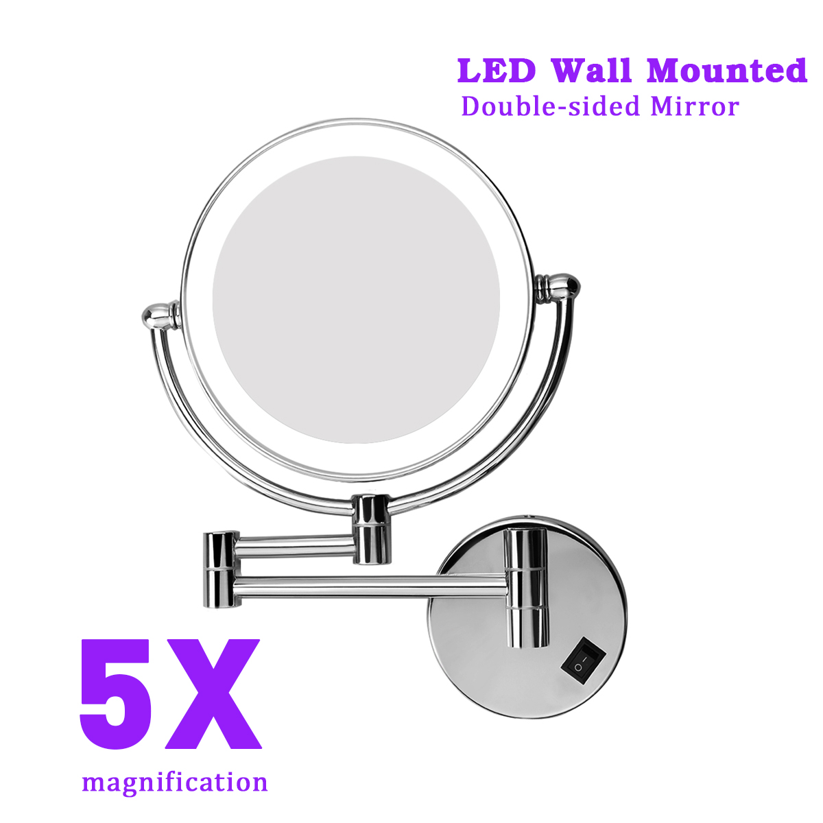 8 Inch Two Sided Swivel Lighted Wall Mount Makeup Mirror With 5x Magnification Chrome Finish