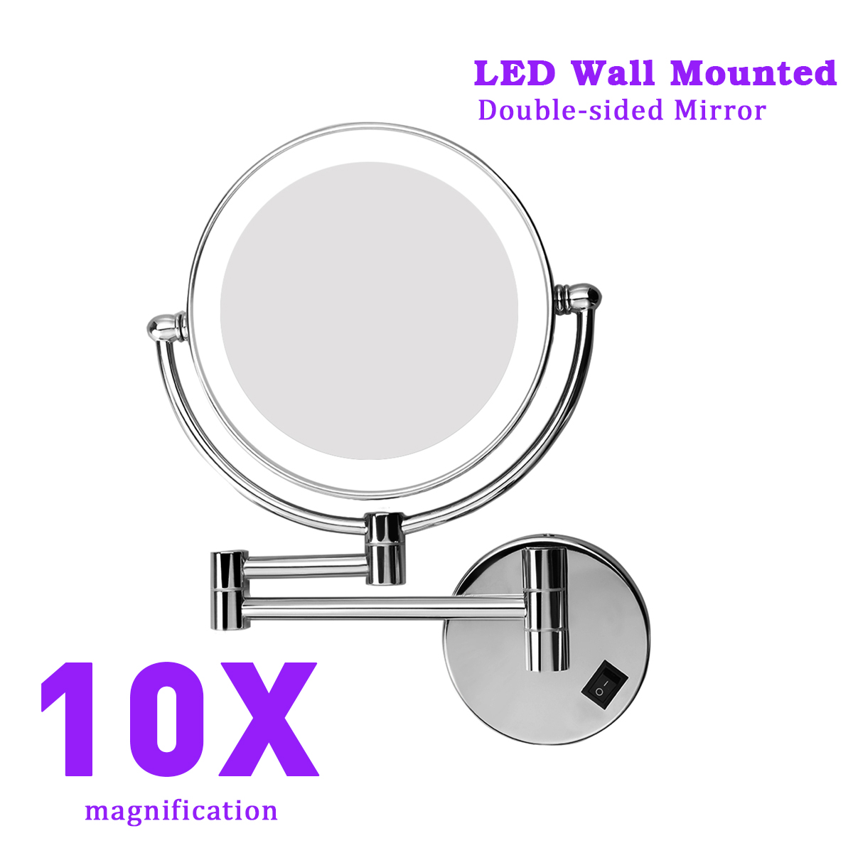 Details About 8 Led Lighted Beauty Wall Mount 2 Sided Shaving Makeup Mirror 10x Magnifying Us