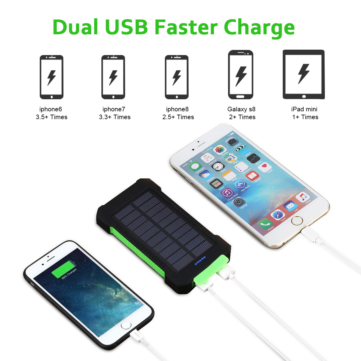 10000mah Waterproof Solar Power Bank External Battery Charger Powerbank Portable Fan 2 In 1 High Capacity Built Lithium Equipped With A Compact Panel Which Could Recharge The Itself Under
