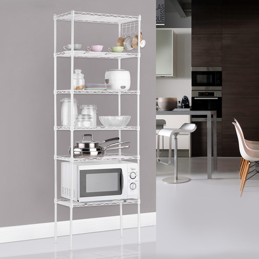 LANGRIA 5 / 6-Tier Supreme Kitchen Wire Shelving Units Storage Rack ...