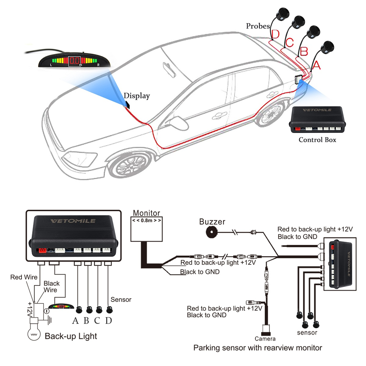 car reverse backup radar system 4 parking sensors auto rear alert kit display us 717643891925