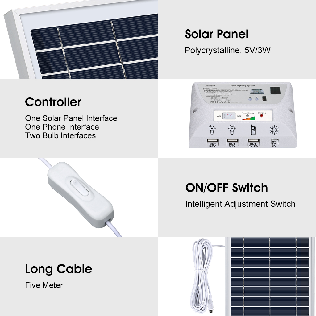 Portable 2 Bulb Outdoor Indoor Solar Panel Power Supply LED Lighting ...