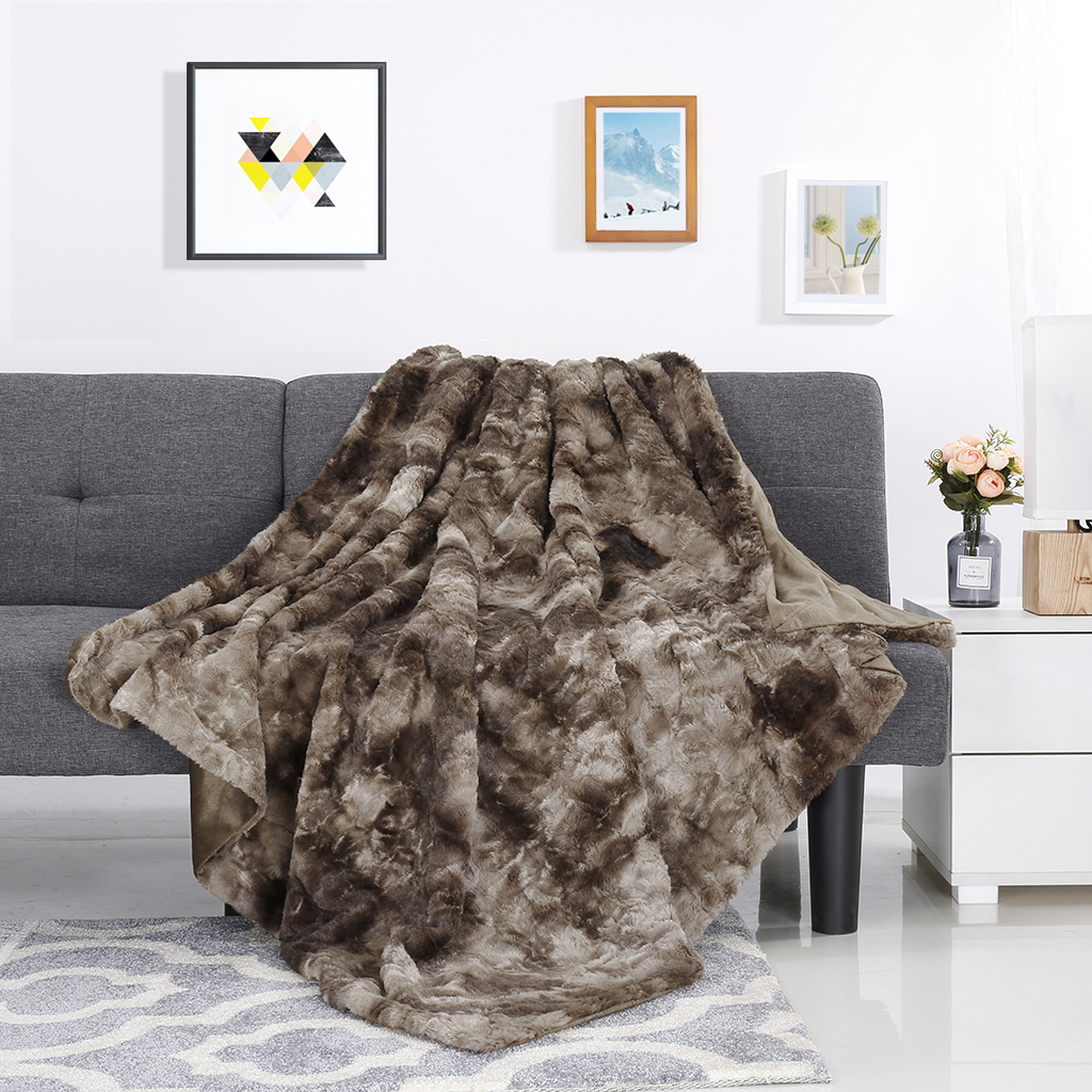 Details About Faux Fur Fleece Blanket Throw Soft Cozy Warm Fluffy Sofa Bed Couch 60 X 80 New
